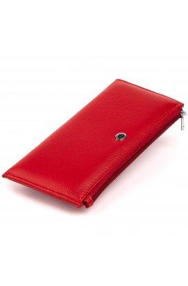 Горизонтальный тонкий кошелек из кожи женский ST Leather 19330 Красный