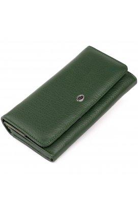 Кошелек кожаный в два сложения женский ST Leather 19286 Зеленый