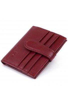 Кошелек-визитница на хлястике с кнопкой женский ST Leather 19231 Бордовый