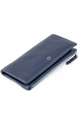 Кошелек-клатч из кожи с карманом для мобильного ST Leather 19309 Темно-синий
