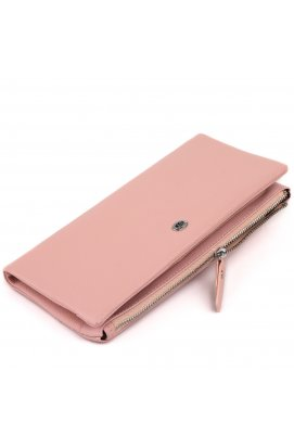 Кошелек-клатч из кожи с карманом для мобильного ST Leather 19313 Розовый