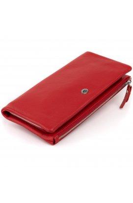 Кошелек-клатч из кожи с карманом для мобильного ST Leather 19315 Красный