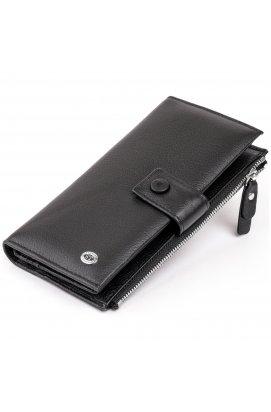 Оригинальный кошелек кожаный женский на хлястике с кнопкой ST Leather 19280