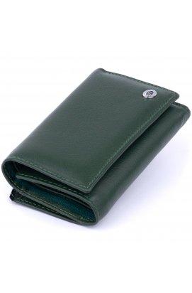 Кошелек горизонтальный с монетником на молнии унисекс ST Leather 19359 Зеленый