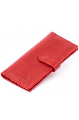 Вертикальный женский бумажник глянцевый Anet на кнопке GRANDE PELLE 11325 Красный
