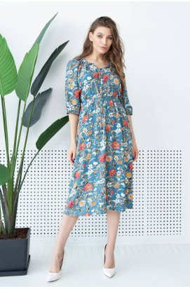 Платье 3149-c02 - Голубой/Принт
