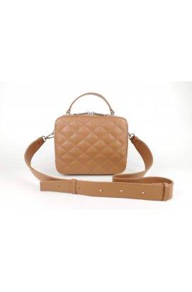 Кожаная сумка кросс-боди с ромбами Mini MyZ цвета карамель