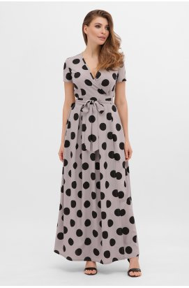 Платье Шайни к/р - GLEM, серый-черный горох б.