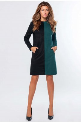 Платье Carica КР-10207-12 - Цвет Черный-изумруд