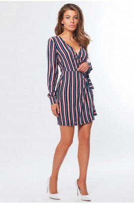 Платье Carica KP-10236-2 - Цвет Синий-коралл