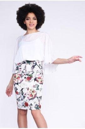 Платье Carica KP-5892-4 - Цвет Белый-серый