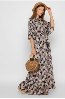 Платье Carica KP-10251-2 - Цвет Синий-беж