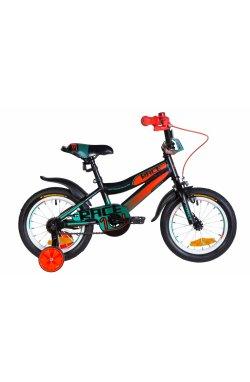 """Велосипед Велосипед 14"""" Formula RACE 2021 (черно-оранжевый с бирюзовым (м))"""