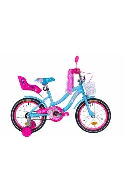 """Велосипед Велосипед 16"""" Formula FLOWER PREMIUM 2021 (голубой)"""