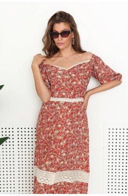 Платье - Рубашка 3173-c01 - Теракотовый/принт