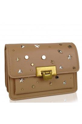 Женская элегантная бежевая сумка W16-808BG - искуственная кожа, бежевый