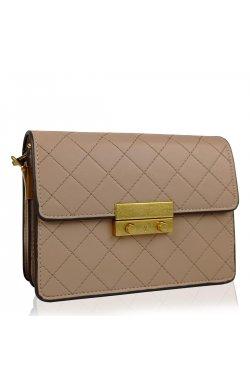 Женская бежевая маленькая сумка W16-160BG - искуственная кожа, бежевый