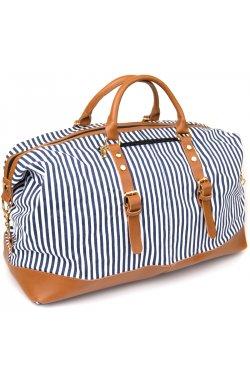 Дорожная сумка текстильная женская в полоску Vintage 20667 Белая