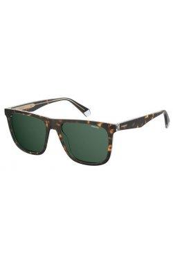 Солнцезащитные очки женские Polaroid PLD2102/S/X-KRZ-UC - квадратные;прямоугольные, Цвет линз - зеленый