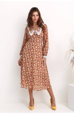 Платье 3220-c02 - Теракотовый/принт