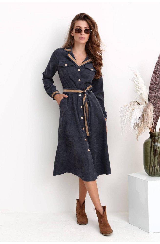 Платье - Рубашка 3225-c01 - Серый