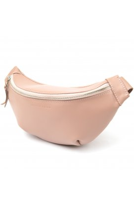 Практичная кожаная женская поясная сумка GRANDE PELLE 11359 Розовый