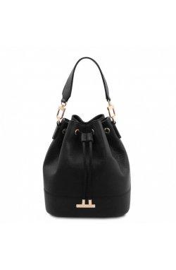 TL142083 TL Bag - женская сумка-мешок из натуральной кожи, цвет: Черный