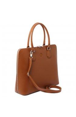TL141809 Коньяк Magnolia - женская кожаная деловая сумка от Tuscany