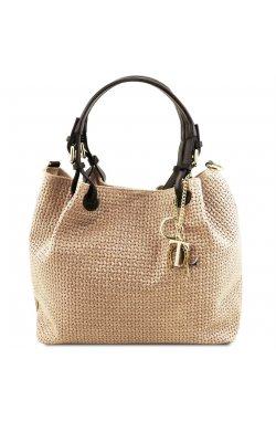 Tuscany TL141573 TL KeyLuck - Кожаная сумка-шоппер с плетеным теснением (Beige – бежевый)