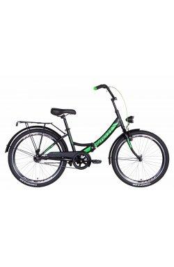 """Велосипед Велосипед 24"""" Formula SMART с фонарём 2021 (черно-зеленый (м))"""