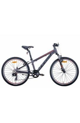 """Велосипед Велосипед 24"""" Leon JUNIOR AM 2021 (антрацитовый с красным (м))"""