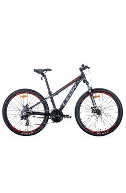 """Велосипед Велосипед 26"""" Leon SUPER JUNIOR 2021 (черно-оранжевый с серым (м))"""