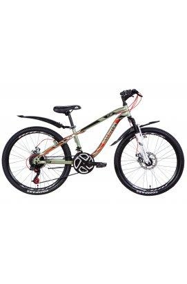 """Велосипед Велосипед 24"""" Discovery FLINT AM DD 2021 (хаки с красным (м))"""