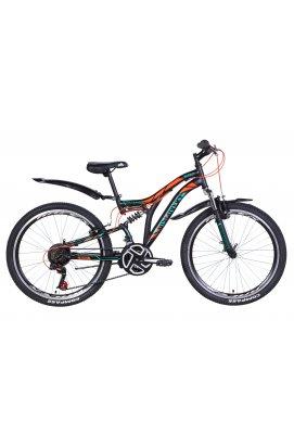 """Велосипед Велосипед 24"""" Discovery ROCKET 2021 (черно-оранжевый с бирюзовым (м))"""