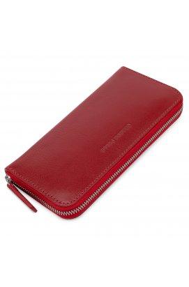 Стильный кожаный женский кошелек на молнии GRANDE PELLE 11563 Красный