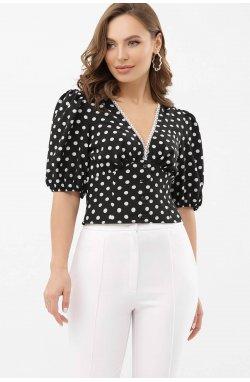 Блуза Инара к/р - GLEM, черный-белый горох