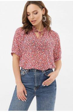 Блуза Ольви к/р - GLEM, красный-м.цветы