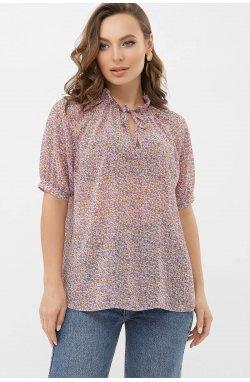 Блуза Ольви к/р - GLEM, сиреневый-оранж.м.цветы