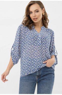 Блуза Севара 3/4 - GLEM, голубой-м.цветы