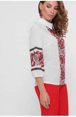 Красные цветы Блуза Жули 3/4 - GLEM, белый