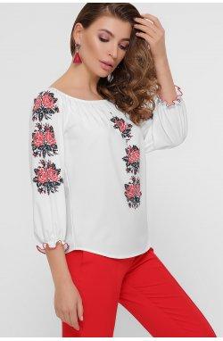 Красные цветы Блуза Юния 3/4 - GLEM, белый