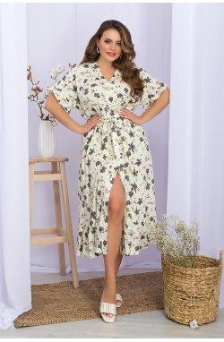 Платье Пейдж-Б к/р - GLEM, ваниль-цветы лепестки