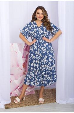 Платье Пейдж-Б к/р - GLEM, джинс-белые цветы
