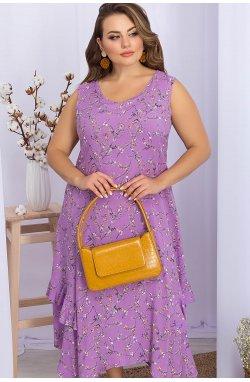 Сарафан Сабина-1Б - GLEM, лиловый-цветы веточки