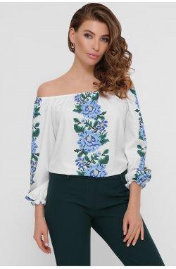 Синие цветы Блуза Юния 3/4 - GLEM, белый