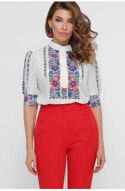 Цветы вышивка Блуза Лисанна к/р - GLEM, белый