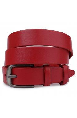 Женский матовый кожаный ремень Vintage 20777 Красный