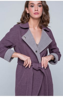 Пальто женское Ким сливовый - Демисезон