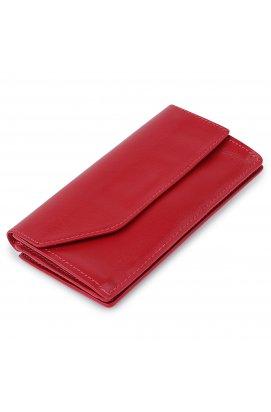 Кожаное вместительно женское портмоне GRANDE PELLE 11550 Красный