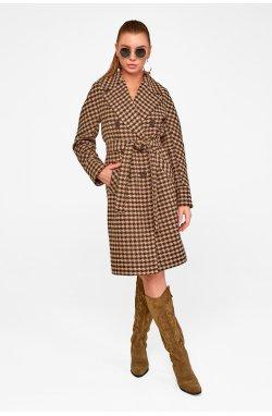 Пальто женское Келли коричневый (звезды) - Весна-Осень